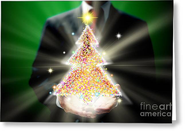 Shiny Mixed Media Greeting Cards - Businessman With Christmas Greeting Card by Atiketta Sangasaeng