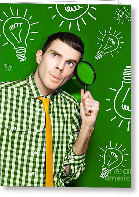 Satisfaction Greeting Cards - Businessman With Creative Idea On Green Background Greeting Card by Ryan Jorgensen