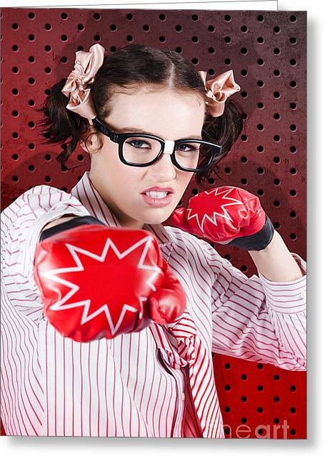 Businesswoman Boxing The Competition With Strategy Greeting Card by Jorgo Photography - Wall Art Gallery