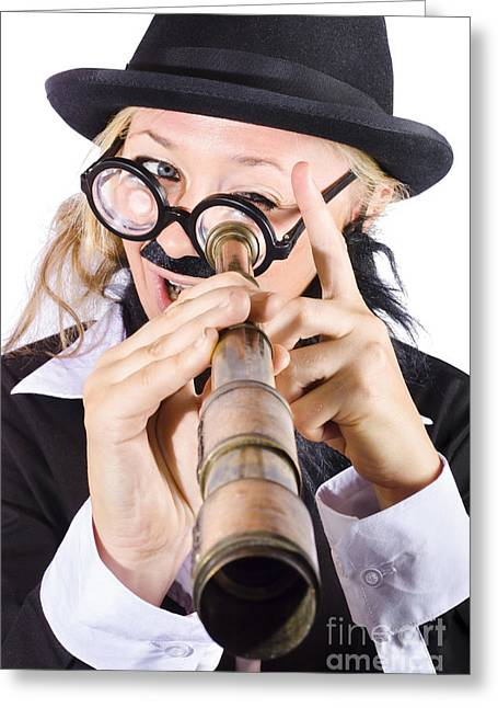 Businesswoman Looking Through Telescope Greeting Card by Jorgo Photography - Wall Art Gallery