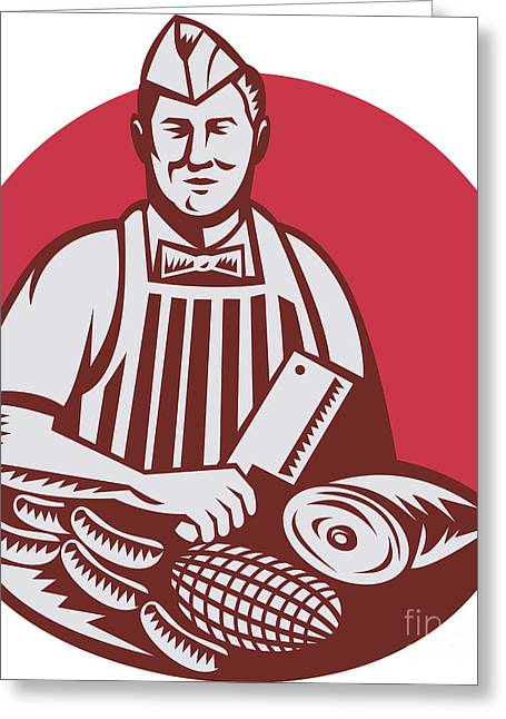 Butcher Knife Greeting Cards - Butcher Cutter Worker Meat Cleaver Knife Retro Greeting Card by Aloysius Patrimonio