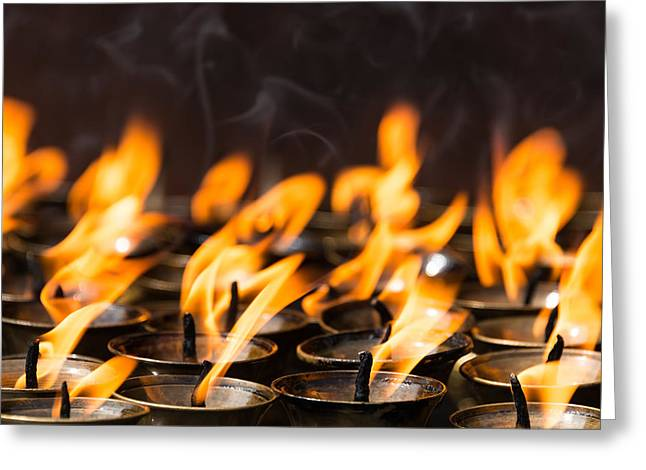 Tibetan Buddhism Greeting Cards - Butter lamps Greeting Card by Dutourdumonde Photography