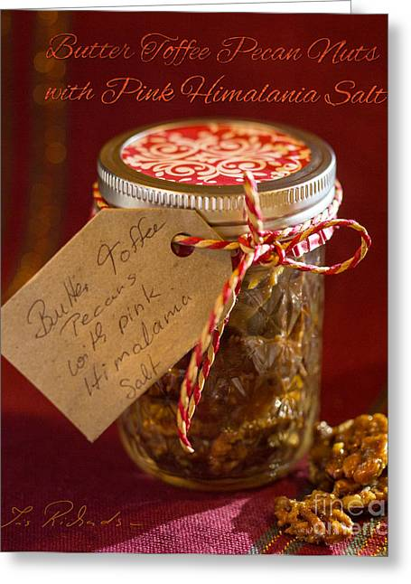 Commercial Photography Greeting Cards - Butter Toffee Pecan Nuts with Himalania Salt Greeting Card by Iris Richardson