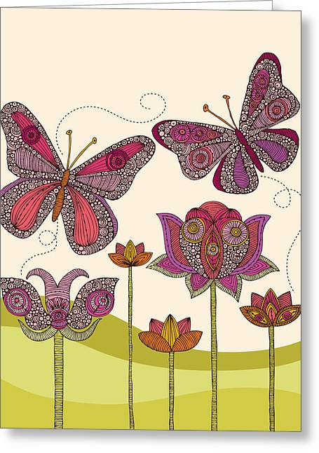 Fluttering Greeting Cards - Butterflies and flowers Greeting Card by Valentina Ramos