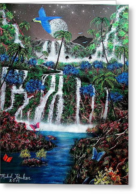 Parrot With Flower Greeting Cards - Tropical Waterfalls Greeting Card by Michael Rucker