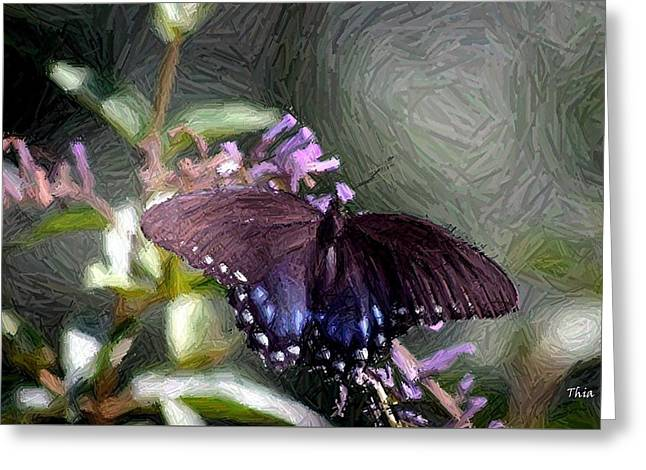 Butterfly Tapestries - Textiles Greeting Cards - Butterfly Landing I Greeting Card by Thia Stover