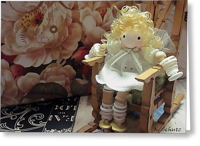 Rocking Chairs Mixed Media Greeting Cards - Button Doll Greeting Card by Kelly Schutz
