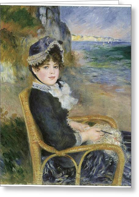 Sitting In A Chair Greeting Cards - By the seashore Greeting Card by Pierre-Auguste Renoir