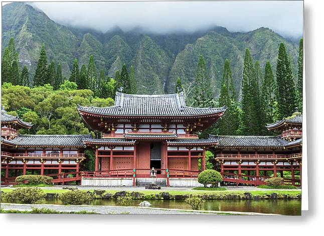 Pond In Park Greeting Cards - Byodo-In Temple 1 Greeting Card by Leigh Anne Meeks