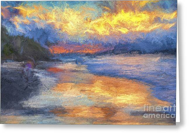 Byron Greeting Cards - Byron Bay sunset Greeting Card by Sheila Smart
