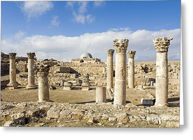 Historic Site Greeting Cards - Byzantine Ruins, Amman Citadel, Jordan Greeting Card by Adam Sylvester