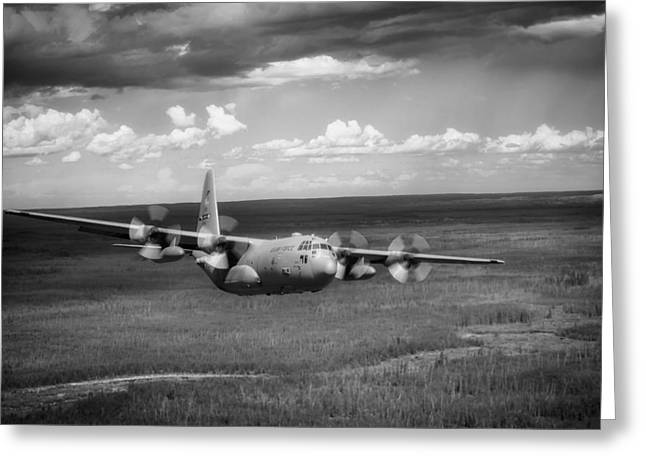 C-130 Hercules Greeting Cards - C-130 Hercules over Canada Greeting Card by Mountain Dreams
