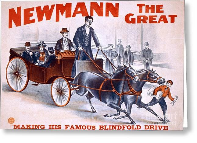 Horse And Buggy Greeting Cards - C.a. George Newmann, American Hypnotist Greeting Card by Photo Researchers