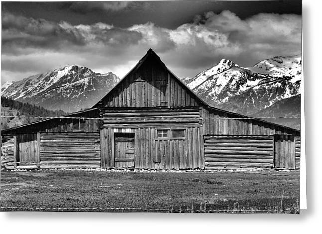 Old Wood Cabin Greeting Cards - John Moulton Barn And Teton Range Greeting Card by Dan Sproul