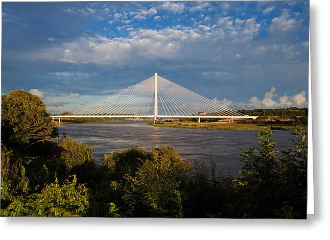 Civil Greeting Cards - Cable-stayed Bridge Over The River Suir Greeting Card by Panoramic Images