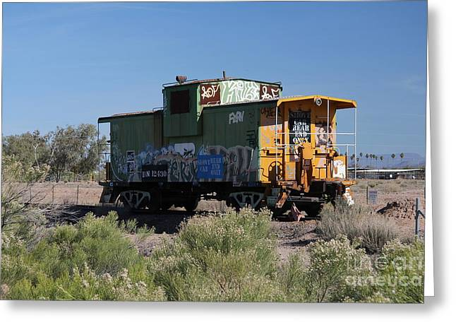 Caboose Photographs Greeting Cards - Caboose  Greeting Card by Diane  Greco-Lesser