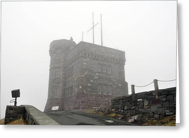 Trans-atlantic Greeting Cards - Cabot Tower in the fog. Newfoundland. Greeting Card by Fernando Barozza