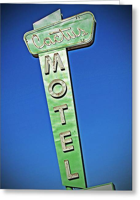 Nostalgic Sign Greeting Cards - Cactus Motel Greeting Card by Charlette Miller