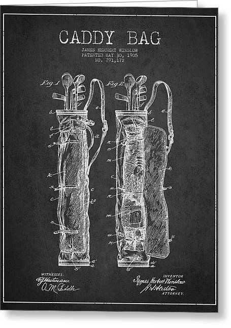 Caddy Greeting Cards - Caddy Bag Patent Drawing From 1905 Greeting Card by Aged Pixel