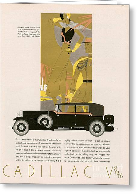 American Automobiles Greeting Cards - Cadillac 1931 1930s Usa Cc Cars   Art Greeting Card by The Advertising Archives