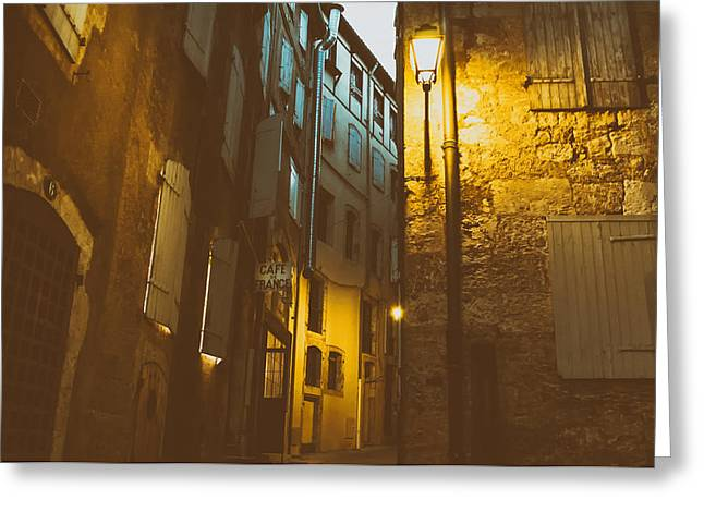 Night Cafe Greeting Cards - Cafe de France Greeting Card by Mountain Dreams