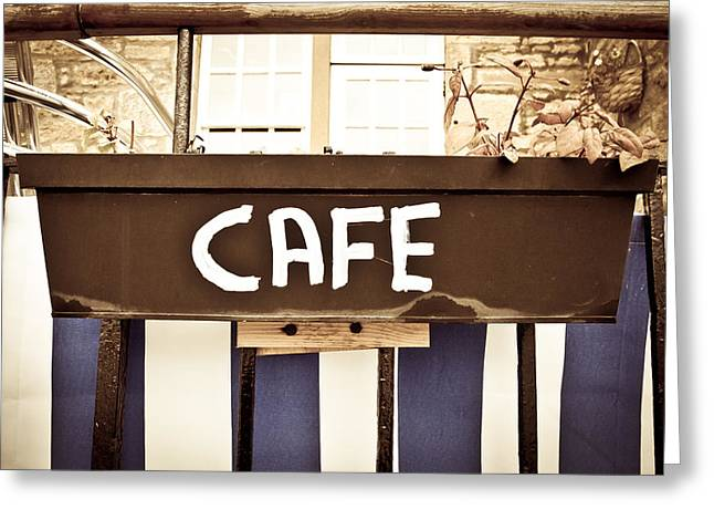 Muted Greeting Cards - Cafe sign Greeting Card by Tom Gowanlock