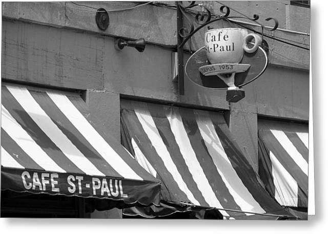 Quebec Restaurants Greeting Cards - Cafe St. Paul - Montreal Greeting Card by Frank Romeo