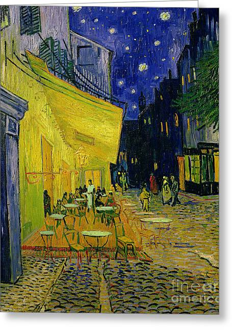 Buildings Paintings Greeting Cards - Cafe Terrace Arles Greeting Card by Vincent van Gogh