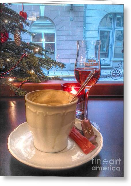 Cafe Pyrography Greeting Cards - Cafe Greeting Card by Yury Bashkin