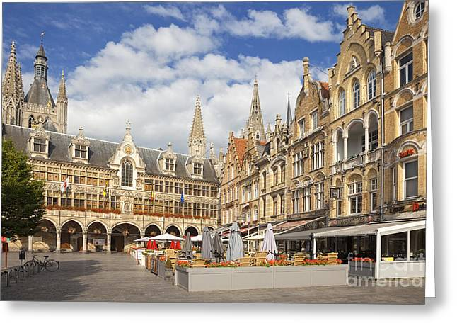 Ypres Greeting Cards - Cafes near the Cloth Hall in Ypres town centre Belgium Europe Greeting Card by Jon Boyes