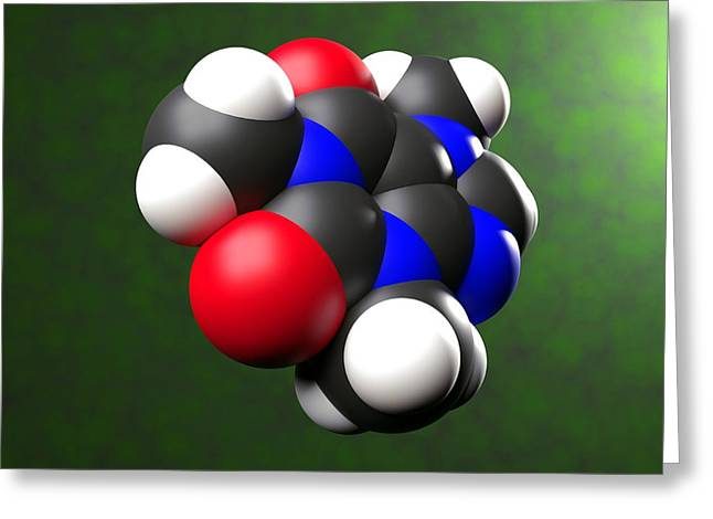 Psychological Space Greeting Cards - Caffeine molecule Greeting Card by Science Photo Library