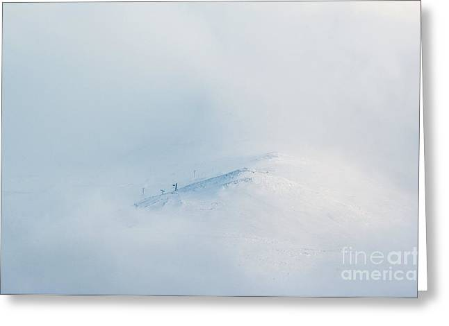 Blizzard Scenes Greeting Cards - Cairngorm Ski Centre In A Blizzard Greeting Card by Duncan Shaw
