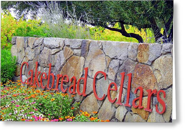 Cakebread Greeting Cards - Cakebread Cellars Greeting Card by Jeff Lowe