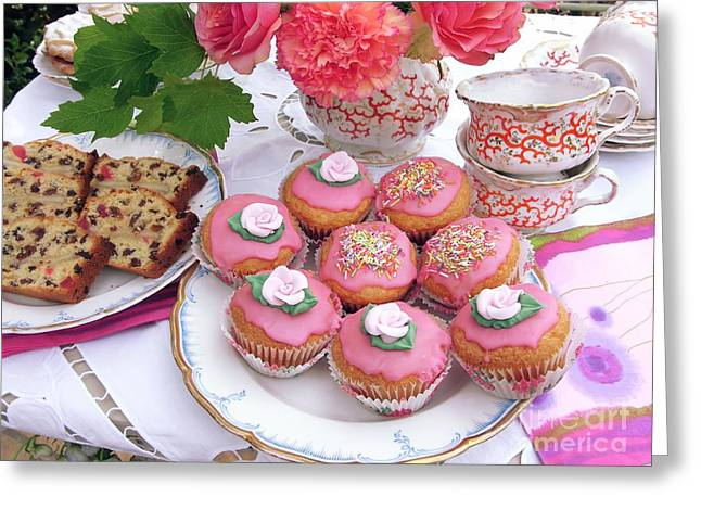 Tea Party Greeting Cards - Cakes For Afternoon Tea Greeting Card by Tony Craddock