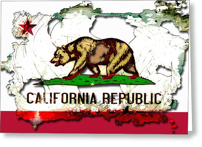 Californian Greeting Cards - California Grunge Style Flag Greeting Card by David G Paul