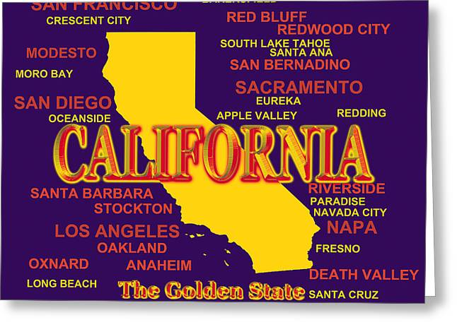 Anaheim California Greeting Cards - California State Pride Map Silhouette  Greeting Card by Keith Webber Jr