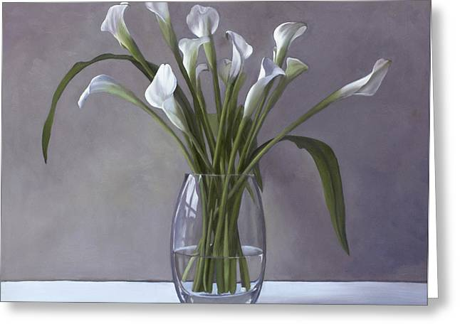 Calla Greeting Cards - Calla Lilies in a vase Greeting Card by Linda Tenukas