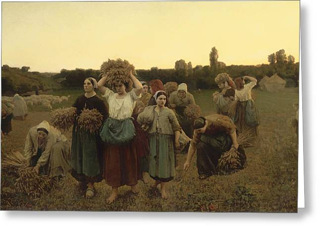Female Worker Greeting Cards - Calling in the Gleaners Greeting Card by Jules Breton