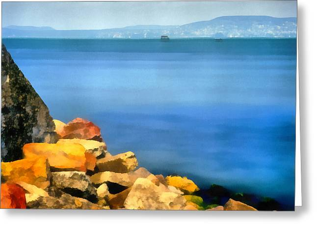 Boats In Harbor Greeting Cards - Calm in Balaton lake Greeting Card by Odon Czintos