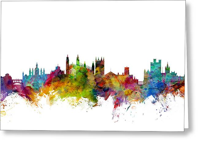 Cityscape Digital Art Greeting Cards - Cambridge England Skyline Greeting Card by Michael Tompsett
