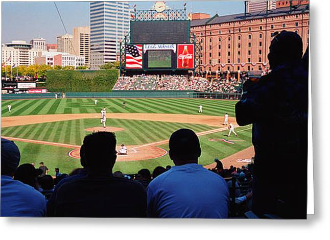Baltimore Oriole Greeting Cards - Camden Yards Baseball Game Baltimore Greeting Card by Panoramic Images