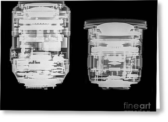 Nikkor Greeting Cards - Camera lens under x-ray.  Greeting Card by Guy Viner