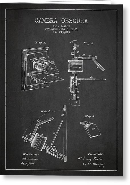 Famous Photographers Digital Art Greeting Cards - Camera Obscura Patent Drawing From 1881 Greeting Card by Aged Pixel