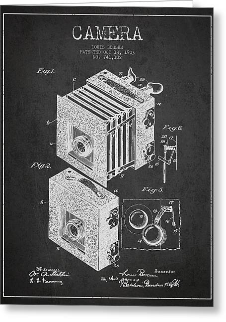Famous Photographers Digital Art Greeting Cards - Camera Patent Drawing from 1903 Greeting Card by Aged Pixel