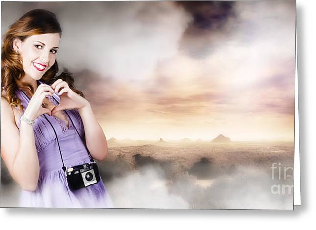 Analog Greeting Cards - Camera Woman In Love With Taking Landscape Photos  Greeting Card by Ryan Jorgensen