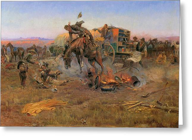 Bucking Horses Greeting Cards - Camp Cooks Troubles Greeting Card by Charles M Russell