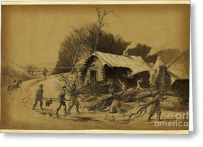 American Civil War Drawings Greeting Cards - Camp near Matawoman Greeting Card by Celestial Images