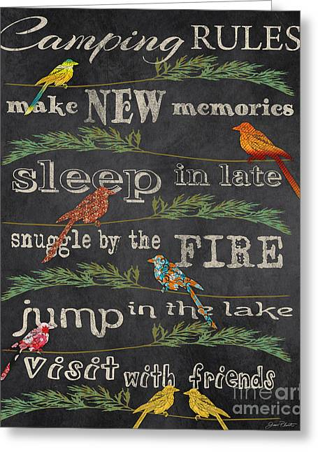 Flour Sack Greeting Cards - Camping Rules-D Greeting Card by Jean Plout