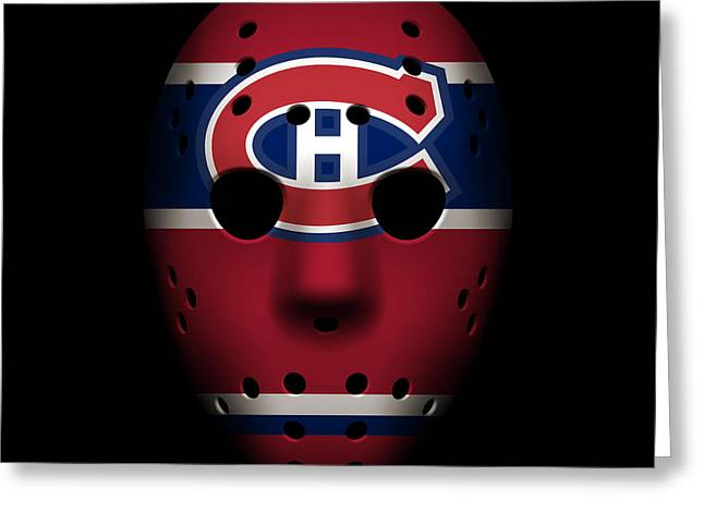 Montreal Canadiens Greeting Cards - Canadiens Goalie Mask Greeting Card by Joe Hamilton
