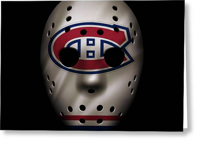 Montreal Canadiens Greeting Cards - Canadiens Jersey Mask Greeting Card by Joe Hamilton